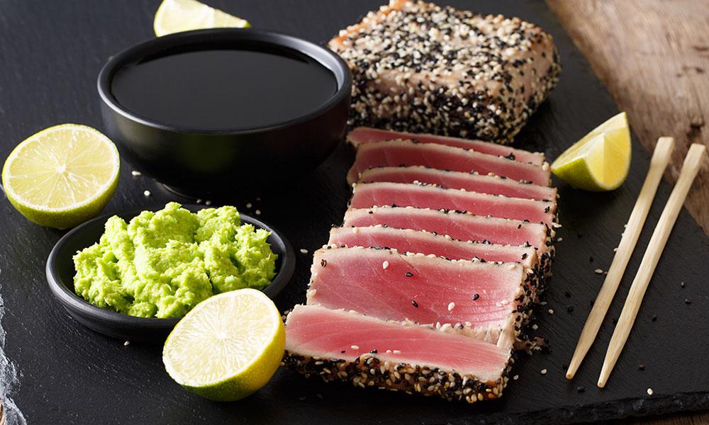 Receta de tataki de atún rojo con sésamo